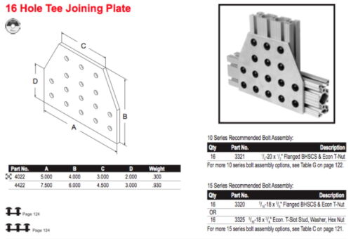 16-hole Tee Joining Plate One 80//20 Inc.#4422 Aluminum T-Slot Extrusions