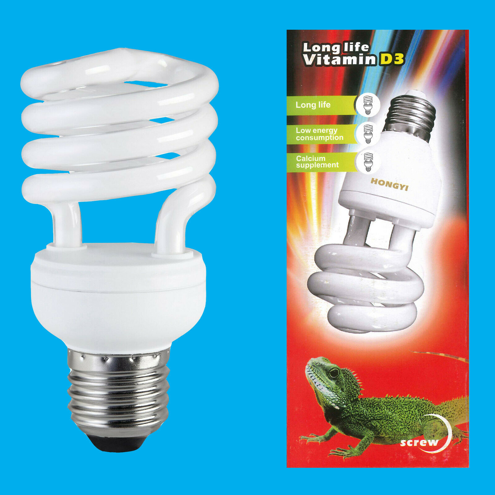 10x 13W CFL Spiral Vitamin D3 UVB 10.0 Plant, Reptilian E27 Screw Light Bulb
