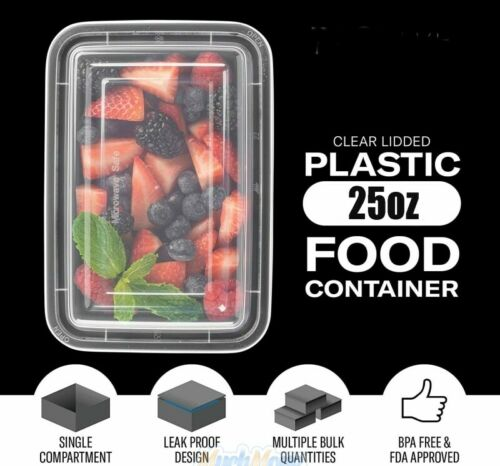50 Pack 26oz Meal Prep Containers Food Storage Bento Box 1 Compartment BPA Free