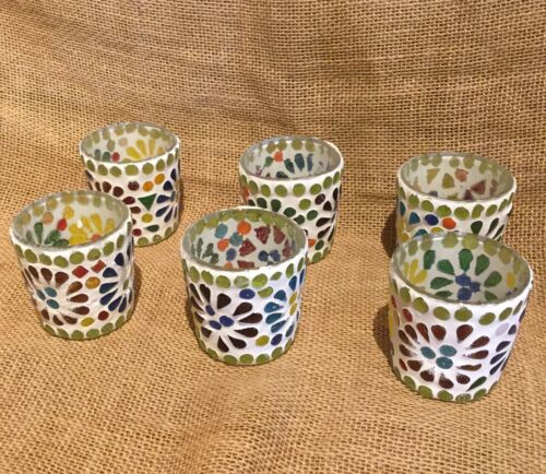 Mosaic Glass Votive Candle Holder Wholesale Lot of Six Pieces