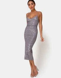 MOTEL-ROCKS-Humia-Dress-in-Drape-Net-Sequin-Silver-Medium-M-mr21
