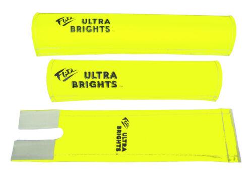 FLITE Ultra Brights 3 Pièce Nylon Old School Bmx Vélo Padset jaune fluo