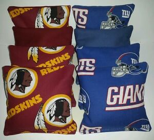 Set Of 8 All Weather Giant Redskins Cornhole Bags Free