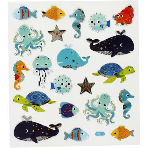 Meerestiere Sticker mit Silberdetails Blatt 15 x 16,5 cm Deko Aufkleber Wal