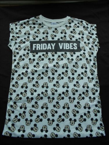 BNWT PRIMARK WHITE MICKEY FRIDAY VIBES PLAIN BACK T SHIRT TEE TOP SIZES 6-20