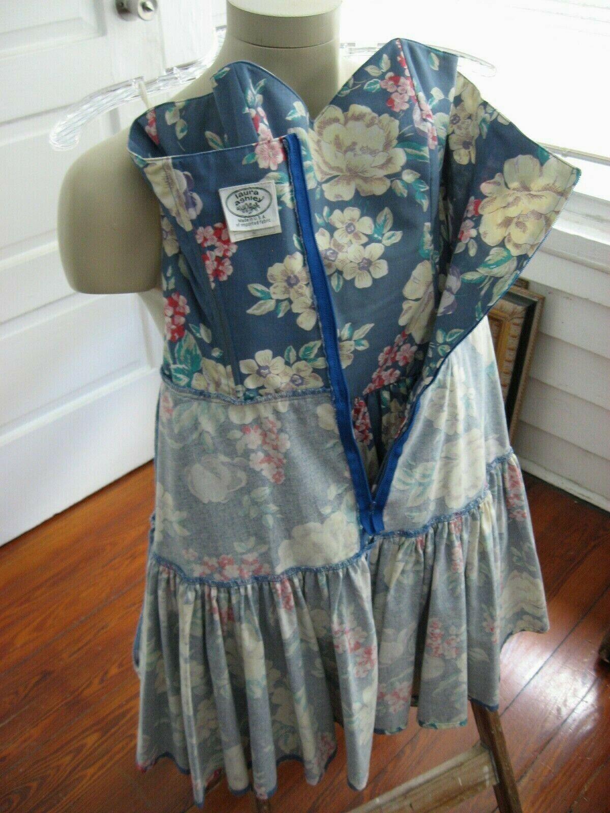 VINTAGE 80s 90s LAURA ASHLEY DRESS STRAPLESS SUND… - image 12