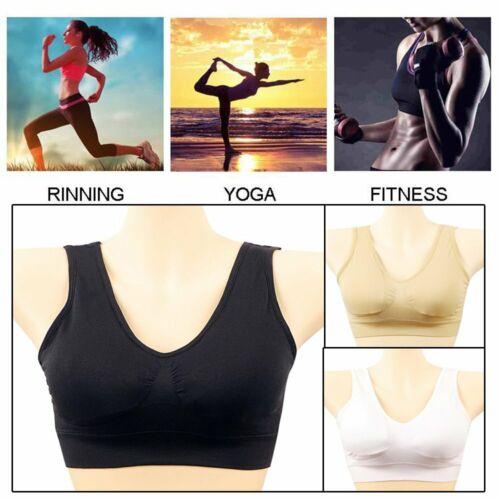3Pcs Padded Sports Bra Yoga Gym Running Vest Support Crop Top Stretch Bras