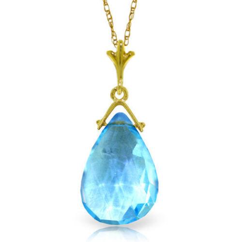 Solid Gold Genuine Blue Topaz Briolette Gemstone Solitaire Pendant Necklace 14K