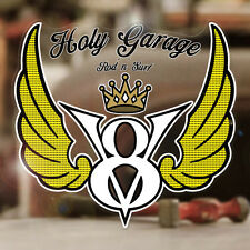 V8 Holy Garage Sticker Aufkleber Autocollante Hemi Flathead Big Block Small 80mm