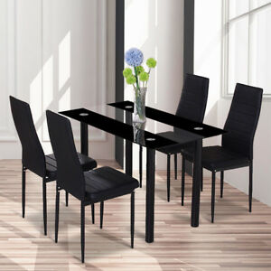 Glass Rectangle Dining Table Set and 4 Leather Chairs ...