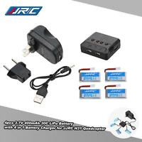 4x Genuine Jjrc H31 Drone 3.7v 400mah 30c Lipo Battery +4 In 1 Charger Us D3y8
