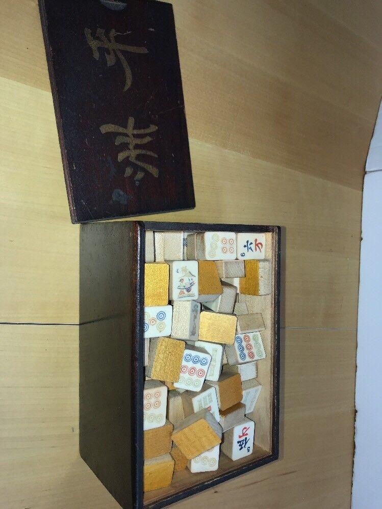 Bloque De Madera Vintage Tallado Mah Jong Mahjong Set 144 Caja De Madera