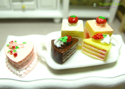 5 Miniature Dessert Birthday Cake Dollhouse Kitchen Food Bakery Shop Decor 1:12