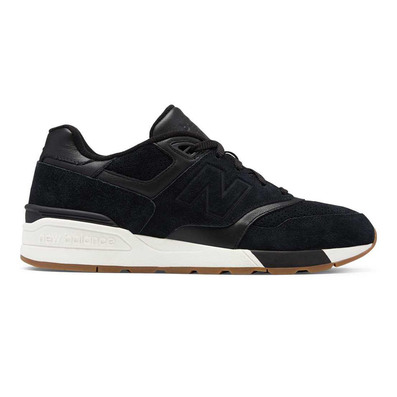 New Balance Men's Fashion Sneakers Suede 597 Black Sea Salt ML597SKG