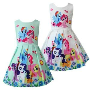 Girls-Skater-Dress-Kids-My-Little-Pony-Print-Casual-Party-Birthday-Dresses-L26