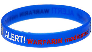 Image Is Loading Warfarin Medicated Blue Silicone Wristband Medical Alert Id