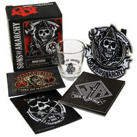 5pc Sons Of Anarchy Road Gear Shot Glass Patch Magnets Book Licensed Contraband on sale