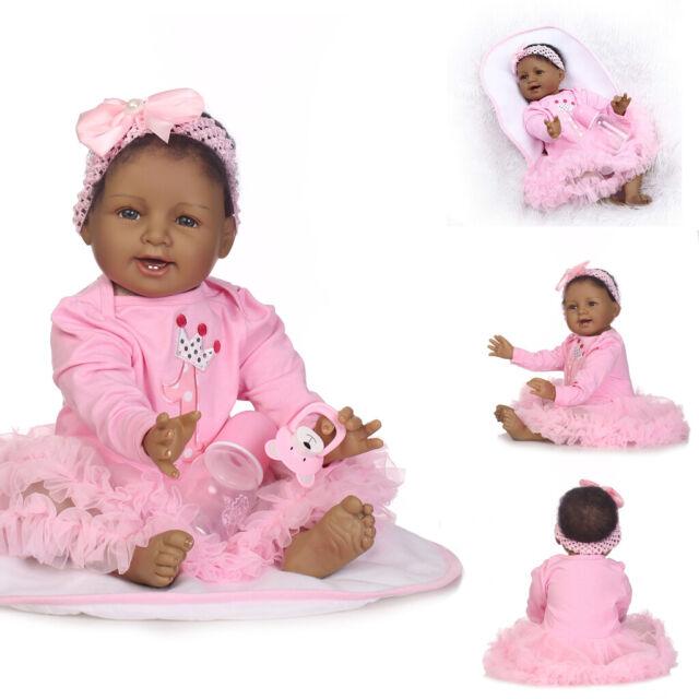"22/"" Biracial Reborn Baby Dolls Girl Black African American Baby Dolls Realistic"