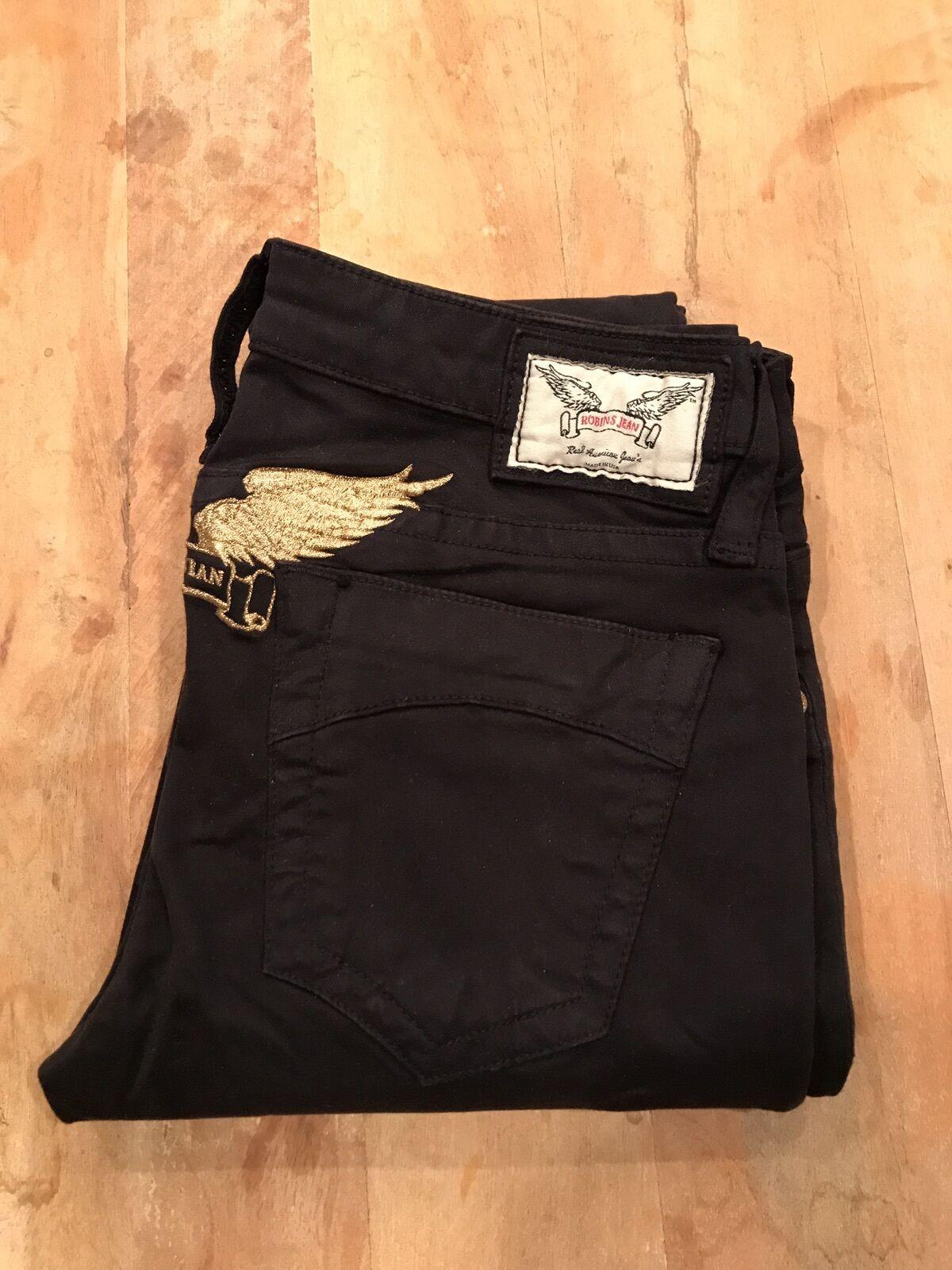Nouveau Femme Marylin Popeline pantalon avec Gold Wing, schwarz, Größe 26