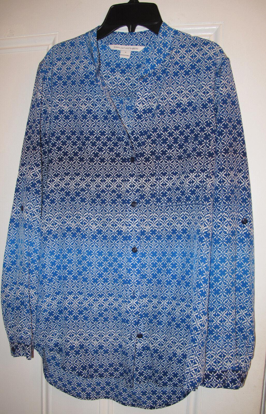 NWOT Diane von Furstenberg GILMORE Blau Weiß Silk Tunic Shirt Blouse Größe 4