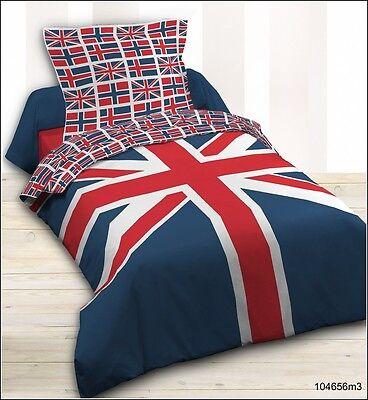 Housse de couette + 1 taie  UNION JACK LONDON BRITISH 140X200 cm 100% coton