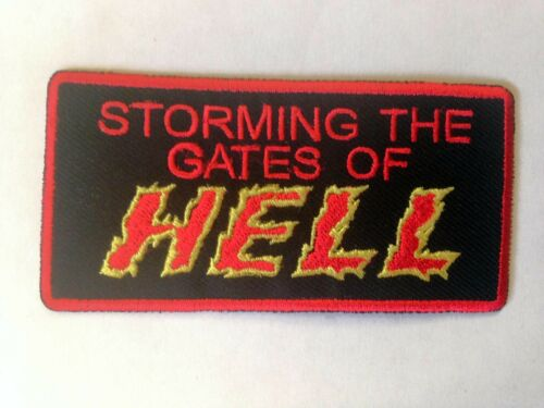 Iron On// Sew On Embroidered Patch Badge Gates of Hell Storming The Gates