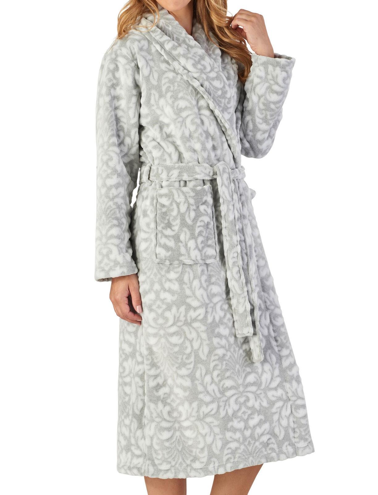 Slenderella Ladies Floral Dressing Gown Flannel Fleece Shawl Collar Bath Robe