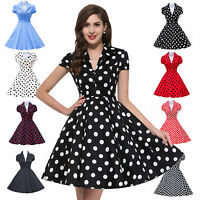 BLACK AND WHITE POLKA DOT SWING Pinup Dress Retro 50's 40's 60s ...