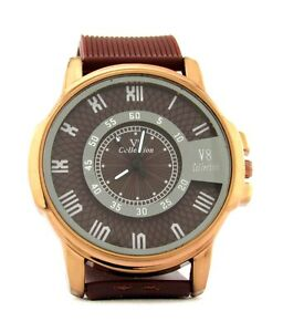 Casual Mens Brown/ White/ Black Wrist Watch with silicon strap