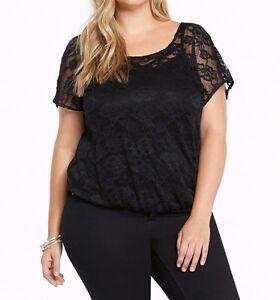 d860390d138 Torrid Black Floral Lace Surplice Back Top Shirt Blouse Sz  1 14 16 ...