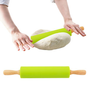 Non-Stick-Long-Wooden-Handle-Silicone-Rolling-Pin-Fondant-Cake-Baking-Tools