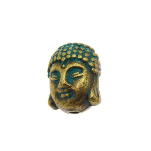 30pcs Vintage aleación de bronce envejecido 3d Cabeza De Buda Colgante encantos perlas 39955