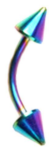 Arco Iris De Acero Quirúrgico Curvado Ceja Barra Barbell Bola Spike Gem Piercing del cuerpo