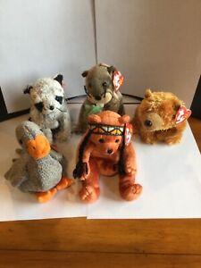 Forest Ty Beanie Baby Bundle! (Bears, Beaver, Birds, & Raccoon)