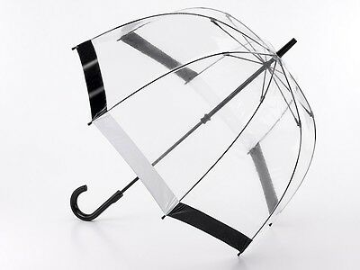 Fulton Birdcage Clear Dome Umbrella with Black and White Trim