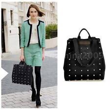 Women Canvas Handbag Rivet Shoulder Bag Satchel Lady Punk Style Tote Purse 8A9P