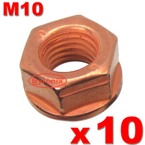 BMW-EXHAUST-NUTS-M10-MANIFOLD-PIPE-CATALYST-HEX-FLANGE-SELF-LOCKING-LOCK-COPPER