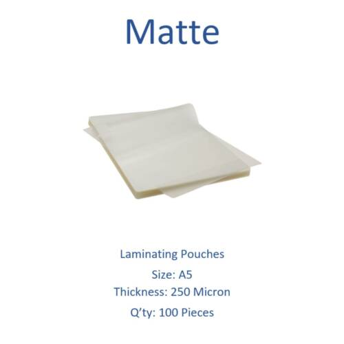 Matte Laminating Pouches A5 250 Micron Pack of 100 Sheets