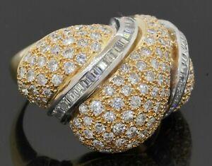 Heavy 18K 2-tone gold 6.62CTW Round/Asscher diamond cluster jumbo cocktail ring