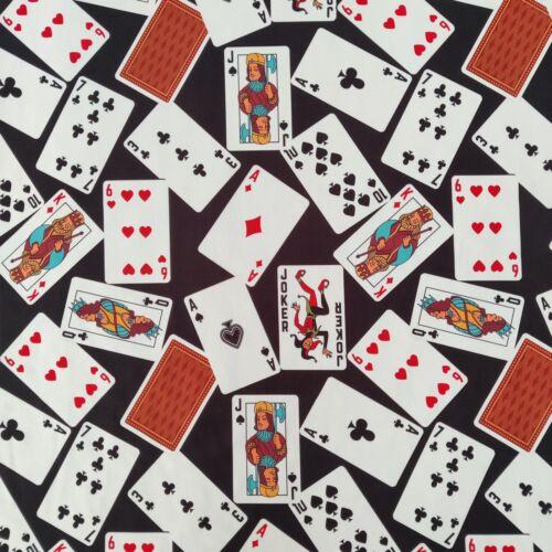 FS791 Playing Cards Jersey Scuba Stretch FabricKing Queen Jack SpadeMetre