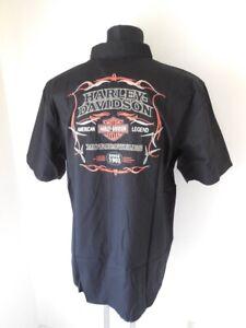 Harley Davidson Pinstripe Flames Herren Hemd schwarz kurzarm 99049-16VM