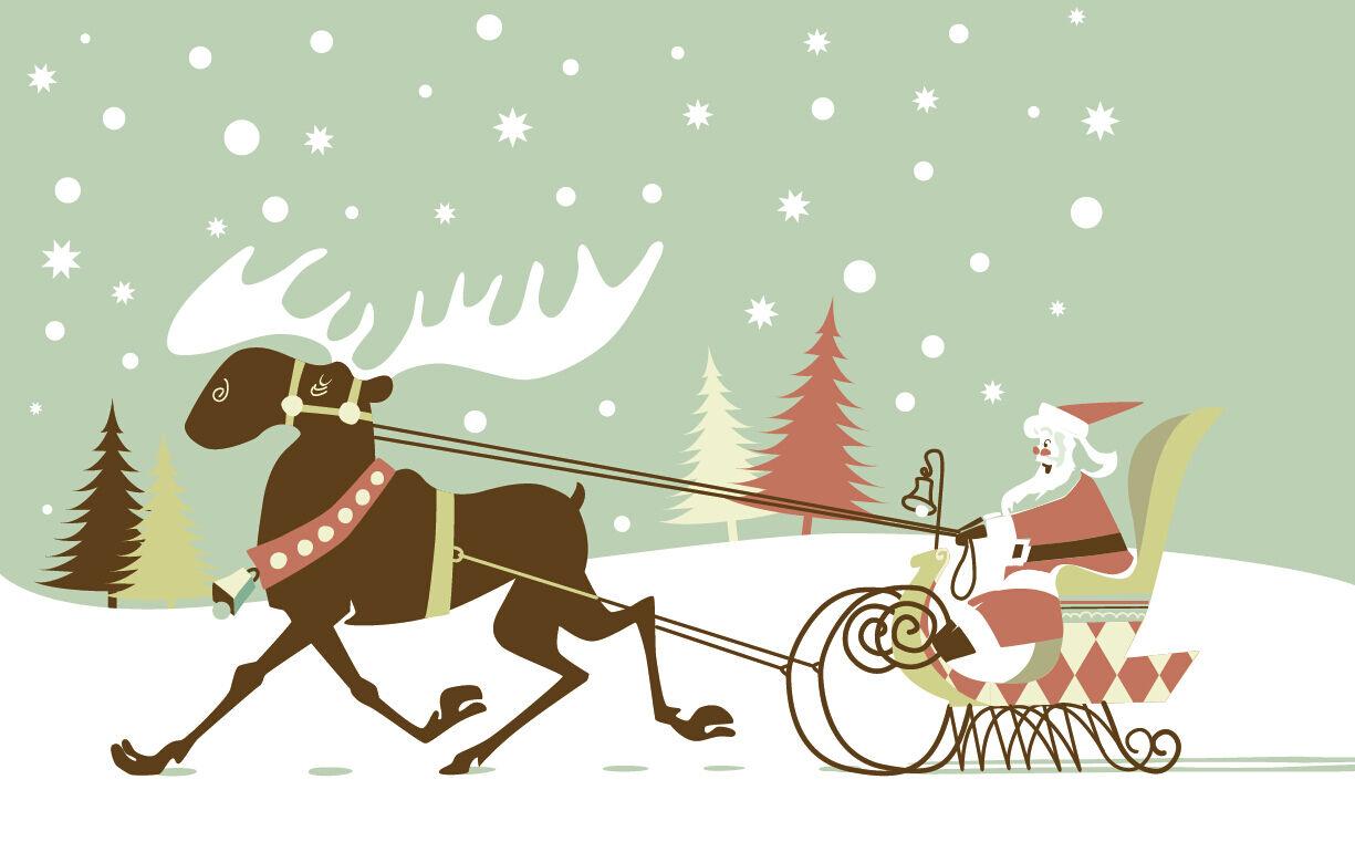 3D Christmas Running Running Running reindeer WallPaper Murals Print Decal Wall AJ WALLPAPER a3f9d0