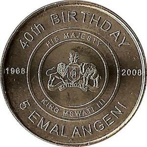 """PräZise Swaziland 5 Emalangeni 2008 """"king Mswati 40th Anniversary"""" Bestellungen Sind Willkommen."""