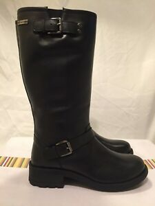 Details about TIMBERLAND LADIES UK 4 EU 37 BLACK LEATHER NELLIE BIKER BOOTS RRP £120