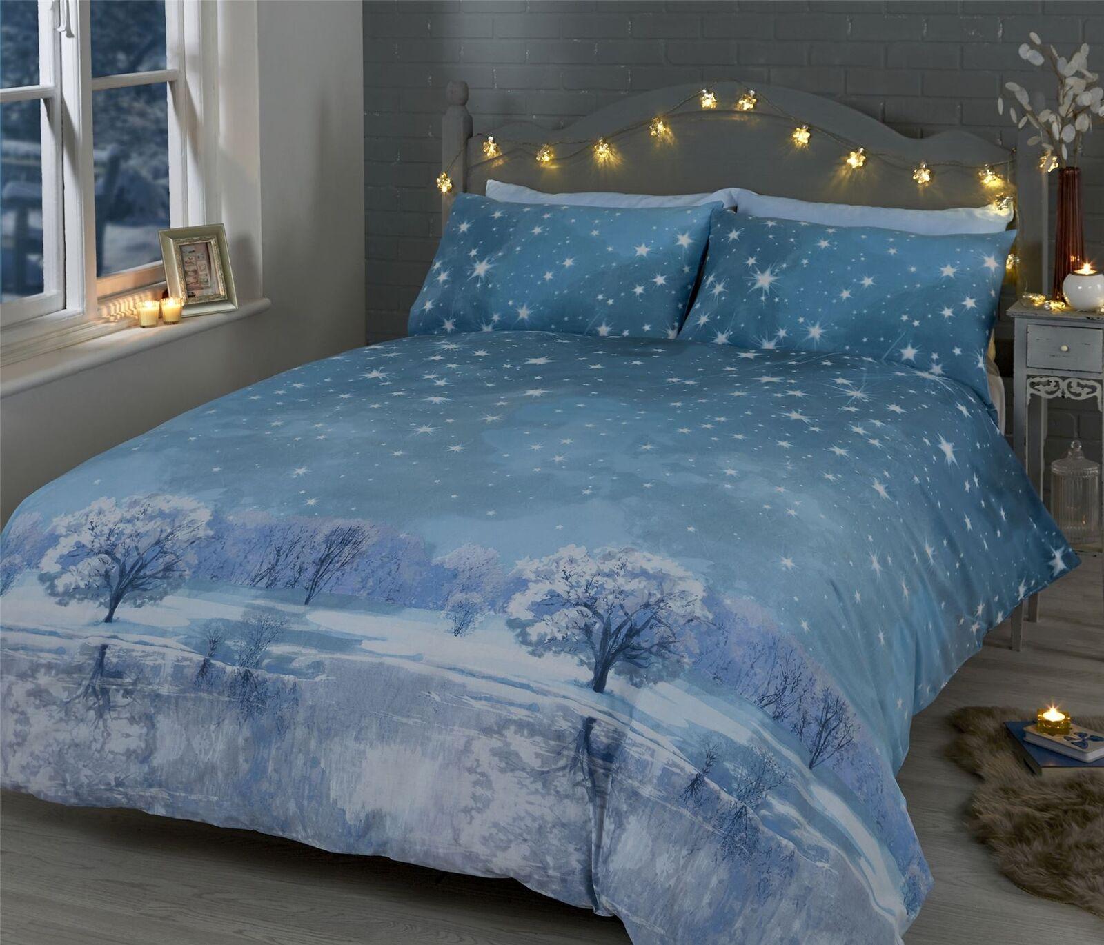 CHRISTMAS NIGHT STARS TREES SNOW Blau COTTON BLEND KING Größe 6 PIECE BEDDING SET