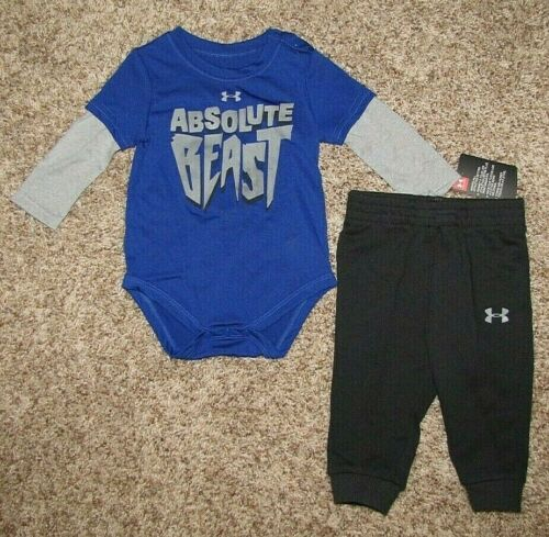 Under Armour Boys Set Long Sleeve Bodysuit Pants 6-9 9-12 Months Absolute Beast