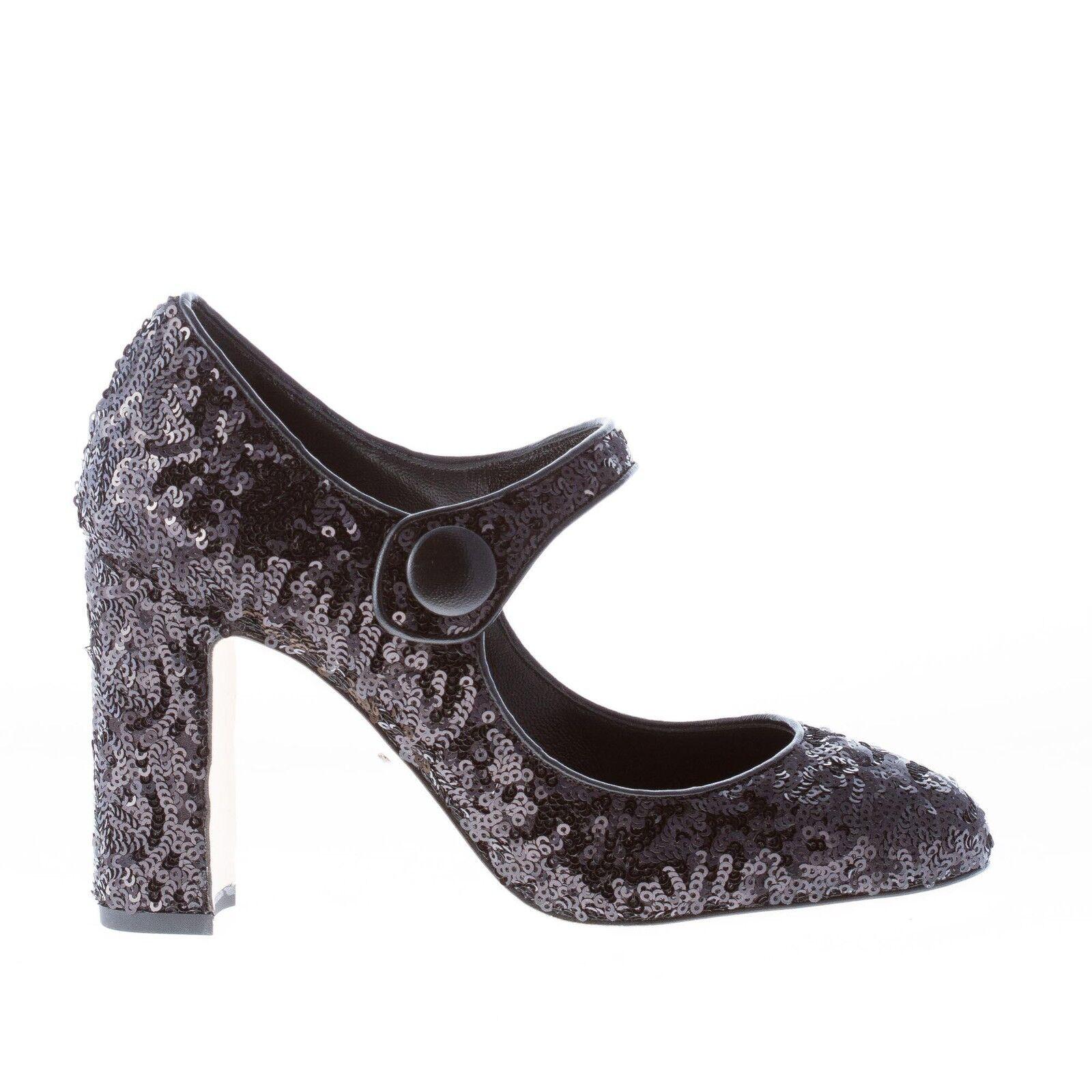 DOLCE & GABBANA damen schuhe women shoes Black sequins Mary Jane pump