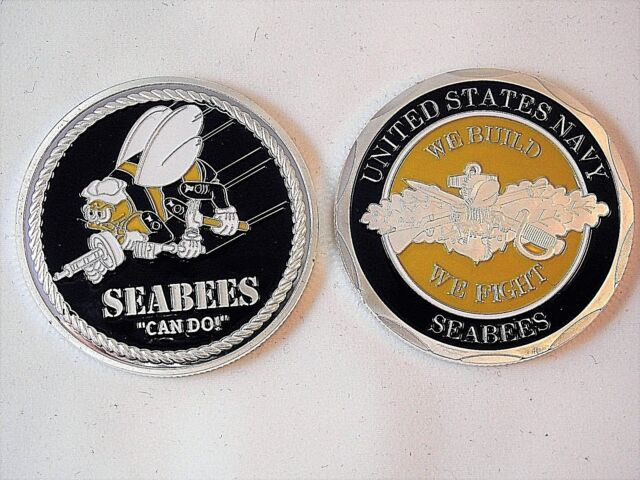 NAVY SEABEES CAN DO WE BUILD WE FIGHT CHALLENGE COIN U.S
