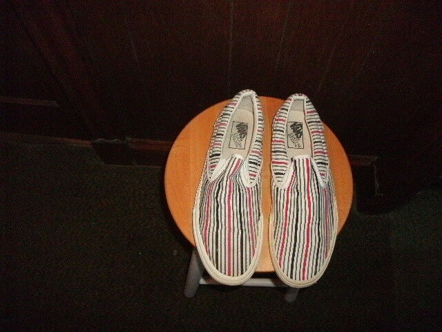 Vintage Old School canvas stripe design Vans Slip-on Size 13 Off The Wall Excel.