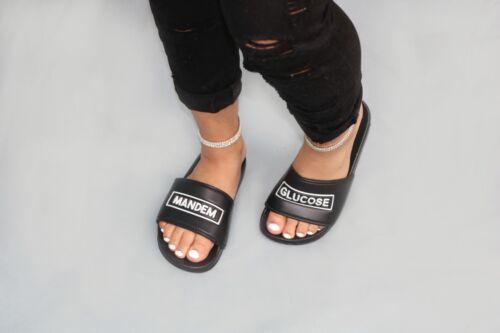 Womens Ladies blackSlip On Slides Flat Sliders Mule Slipper Sandals Shoes Size 8